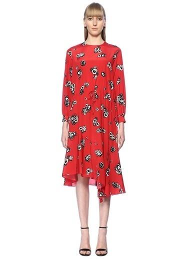Academia Uzun Kollu Desenli Volanlı Elbise Kırmızı